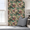 Picture of Teal Pink Jaybird Peel and Stick Wallpaper