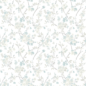 Picture of Glinda Aqua Floral Trail Wallpaper