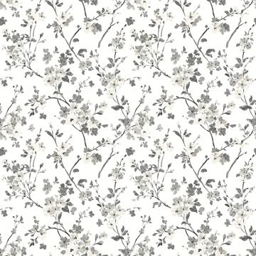Picture of Glinda Black Floral Trail Wallpaper