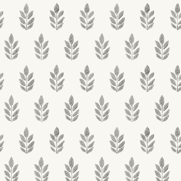 Picture of Ervic Charcoal Leaf Block Print Wallpaper