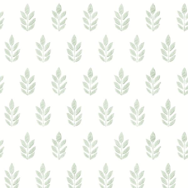 Picture of Ervic Green Leaf Block Print Wallpaper