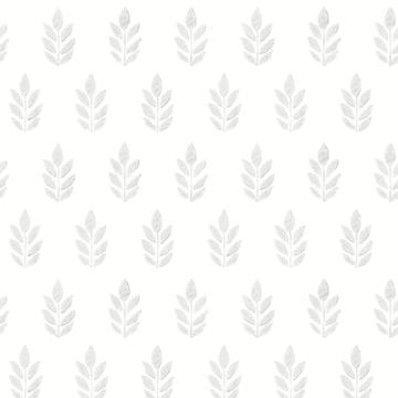 Picture of Ervic Light Grey Leaf Block Print Wallpaper