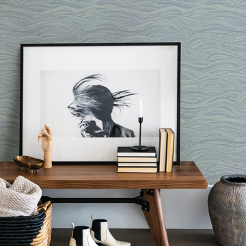 Picture of Leith Blue Zen Waves Wallpaper